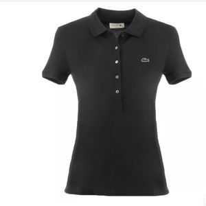 Lacoste Women's Pique Stretch Black Polo Size 10